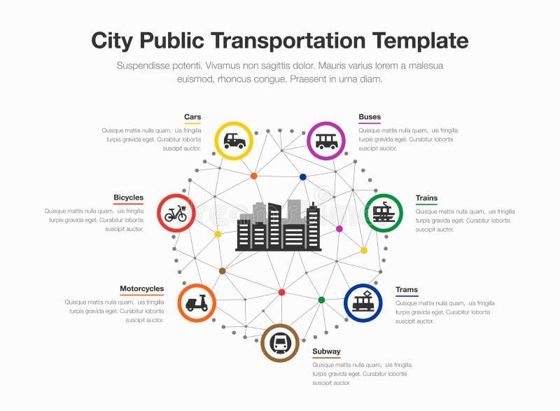 城市公共交通的Infographic有五颜六色的圈子、象和一个城市标志的在中部 库存例证