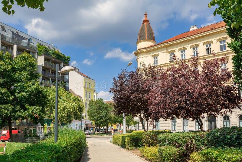 城市公园上午Hundsturm om每晴朗的夏日 奥地利维也纳 库存照片