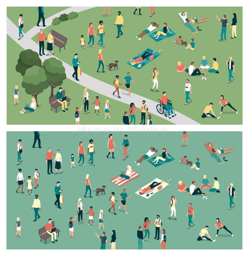 城市公园的人们 向量例证
