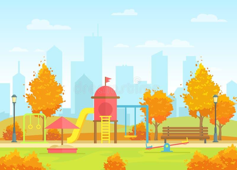 城市公园的传染媒介例证有孩子操场的现代大城市背景的 美丽的秋天城市 库存例证