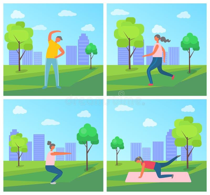 城市公园锻炼设置了人活跃生活方式 向量例证