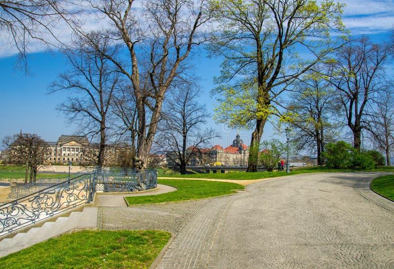 城市公园Bruhlschen Garten,德累斯顿,德国 库存照片