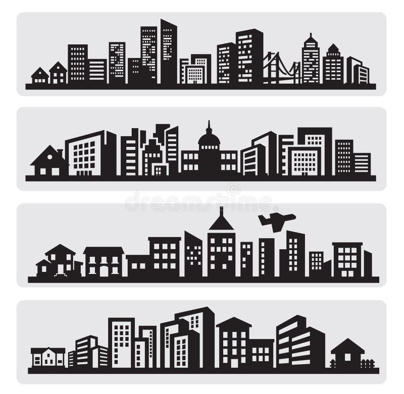 城市剪影图标 皇族释放例证