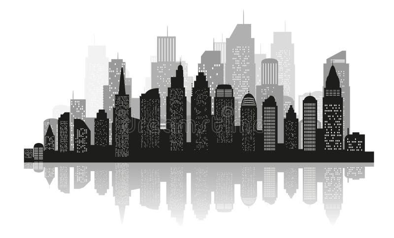 城市剪影有黑色的在一个平的样式的白色背景 E 皇族释放例证