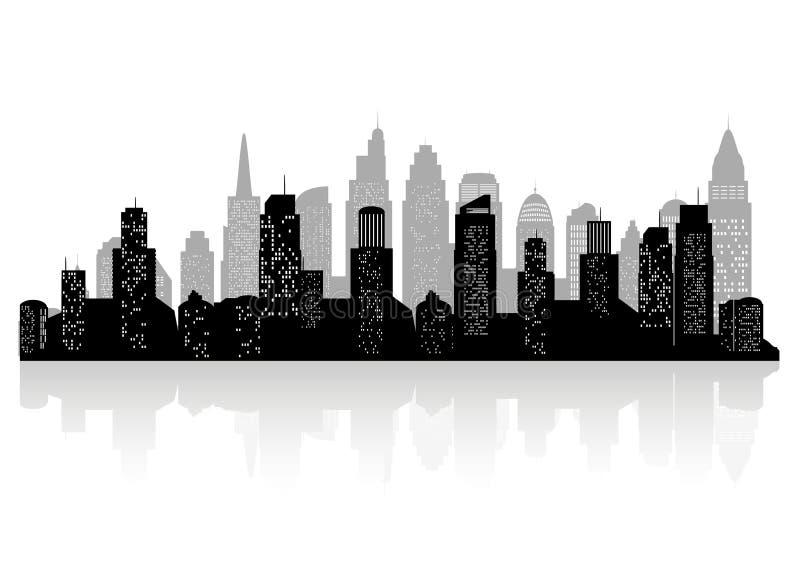 城市剪影有黑色的在一个平的样式的白色背景 E 向量例证