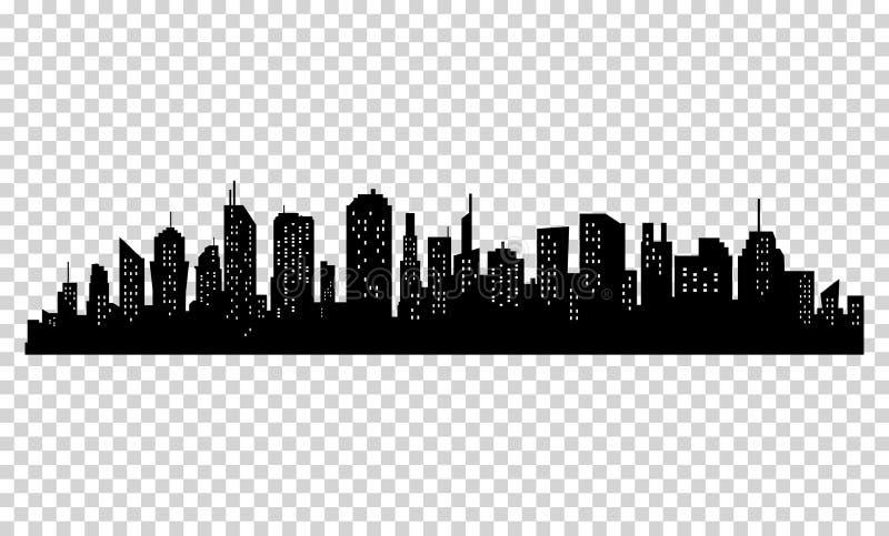 城市剪影有黑颜色的在白色背景 库存例证