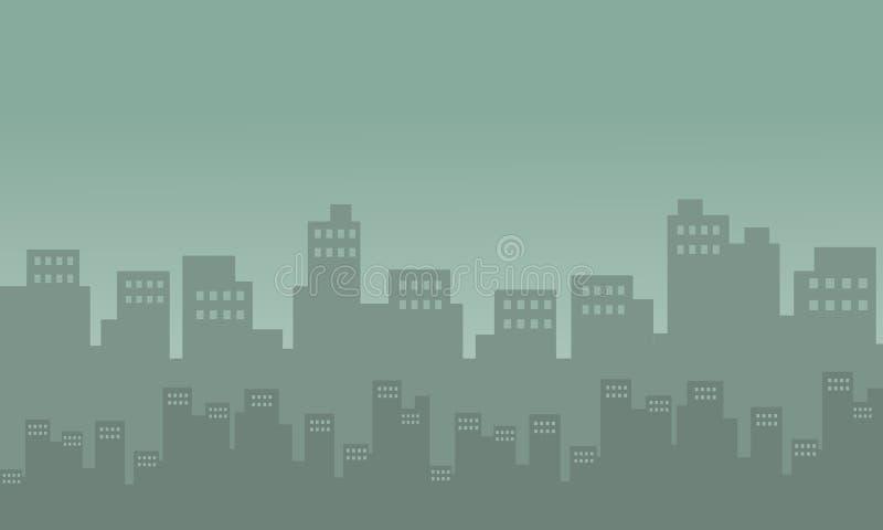 城市剪影许多大厦 皇族释放例证