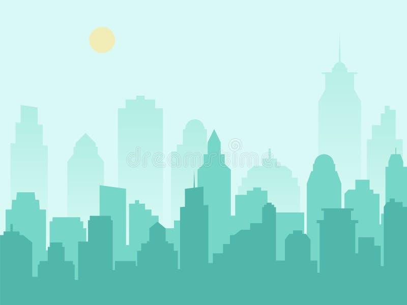 城市剪影都市风景和早晨薄雾 皇族释放例证