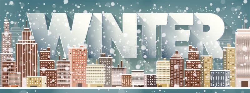 城市剪影 都市风景 镇地平线全景 中间地区房子在冬天 皇族释放例证