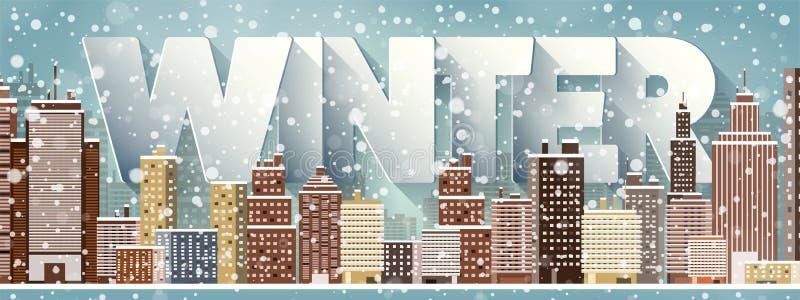 城市剪影 都市风景 镇地平线全景 中间地区房子在冬天 库存例证