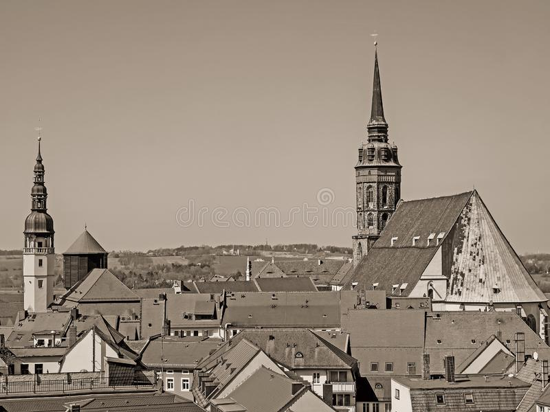 城市包岑,萨克森,德国的鸟瞰图,葡萄酒神色的 库存图片