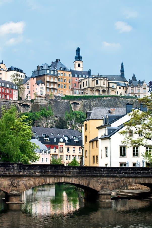 城市卢森堡老城镇视图 库存图片