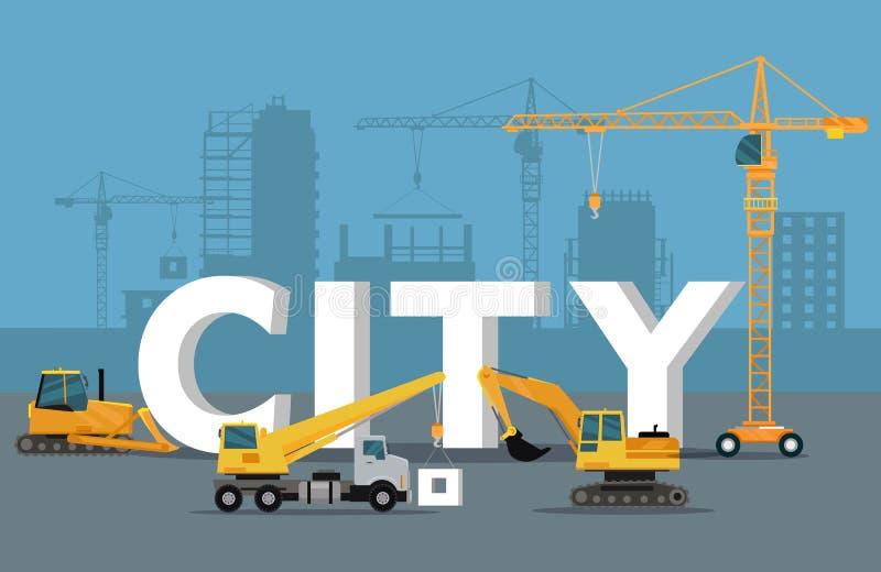 城市发展概念 在平的样式的修造横幅 库存例证