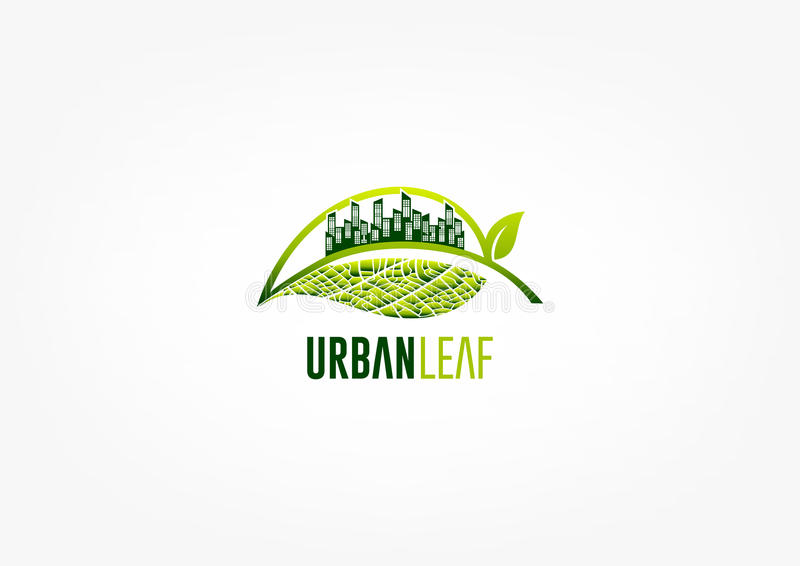 城市叶子商标、绿色庭院标志、公园象和生态构思设计 皇族释放例证