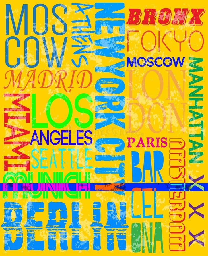 城市名字葡萄酒口号人T恤杉图表传染媒介设计 皇族释放例证