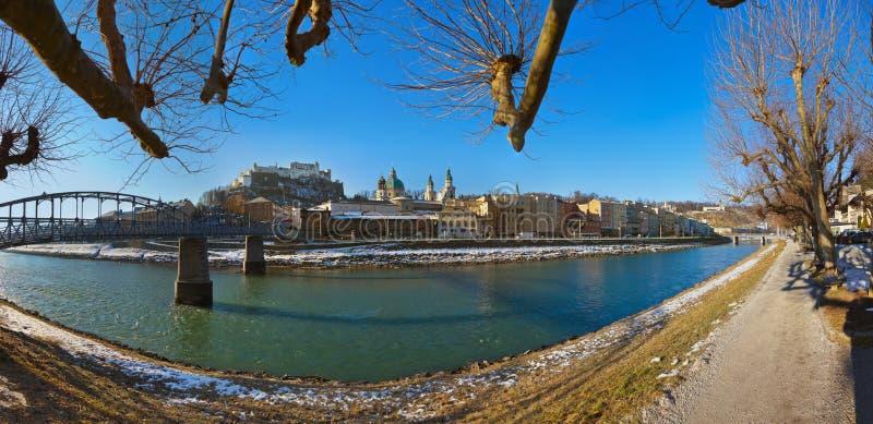 城市和城堡Hohensalzburg -萨尔茨堡奥地利 免版税库存照片
