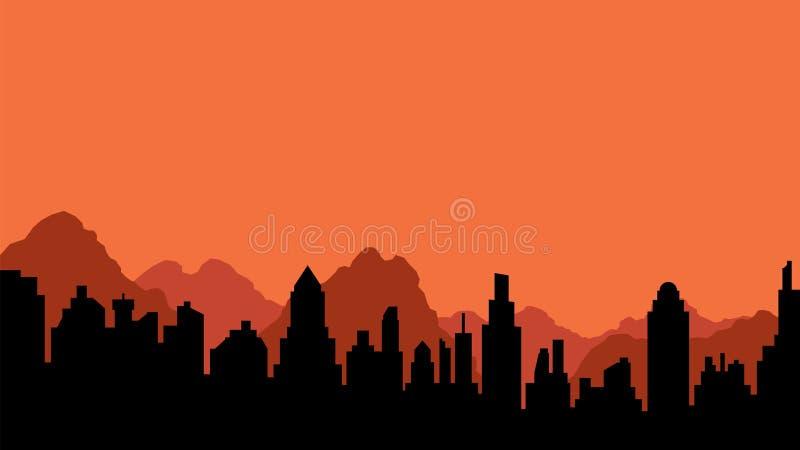 城市和山剪影  库存例证
