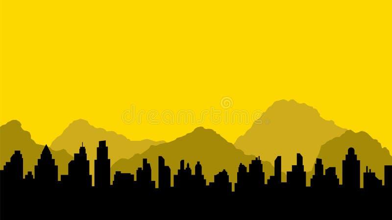 城市和山黑剪影  皇族释放例证