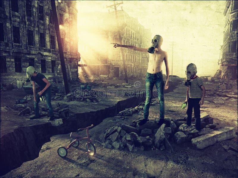 城市和男孩的废墟 库存例证