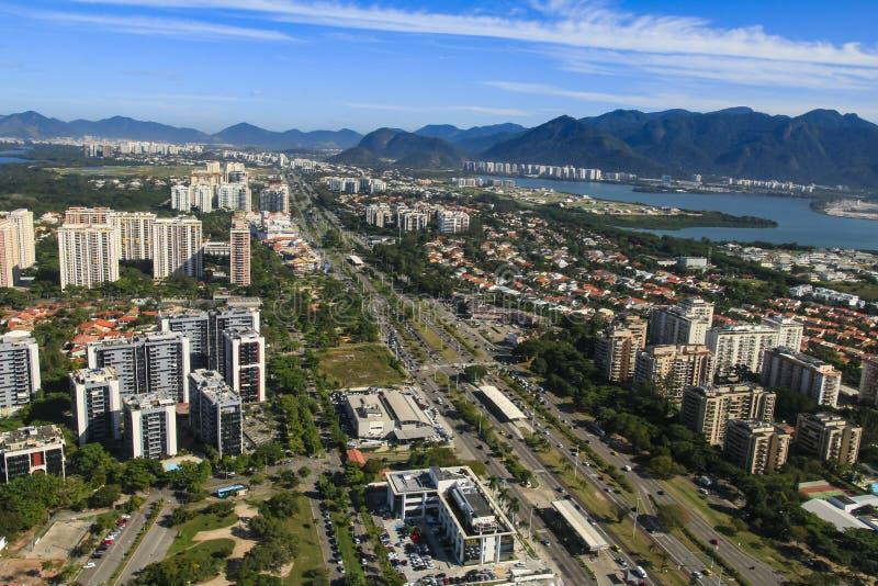 城市和美丽的邻里,巴拉岛da Tijuca在里约热内卢巴西 库存图片