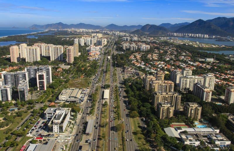 城市和美丽的邻里,巴拉岛da Tijuca在里约热内卢巴西 免版税库存图片