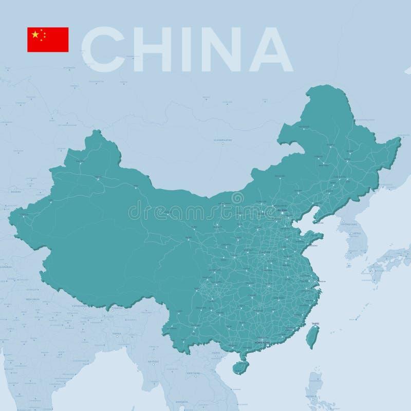 城市和路Verctor地图在中国 皇族释放例证