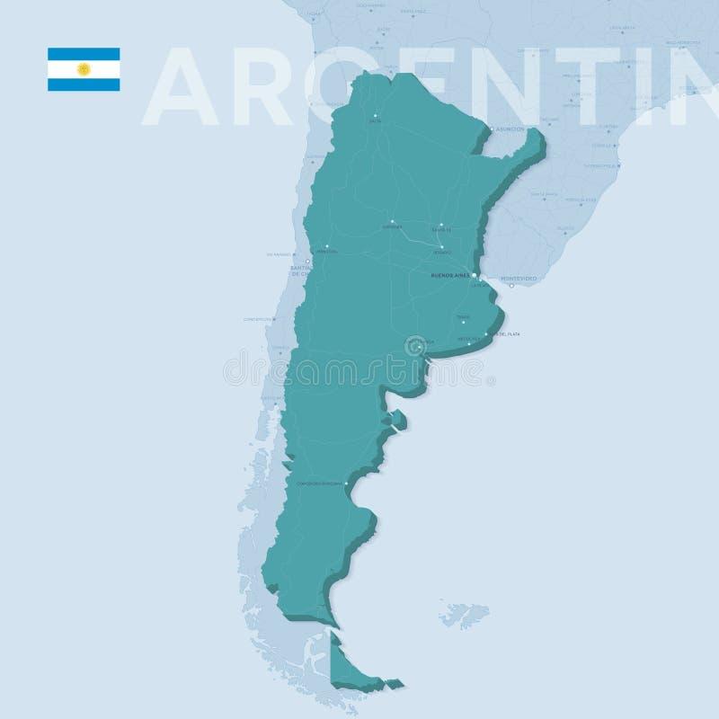 城市和路Verctor地图在阿根廷 向量例证