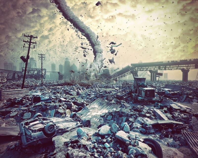 城市和龙卷风的废墟 库存例证