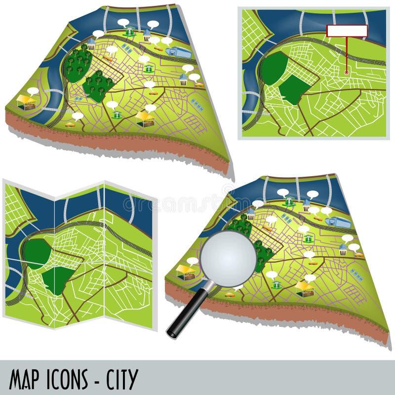城市图标映射 库存例证