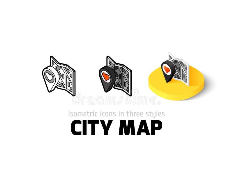城市在另外样式的地图象 库存例证