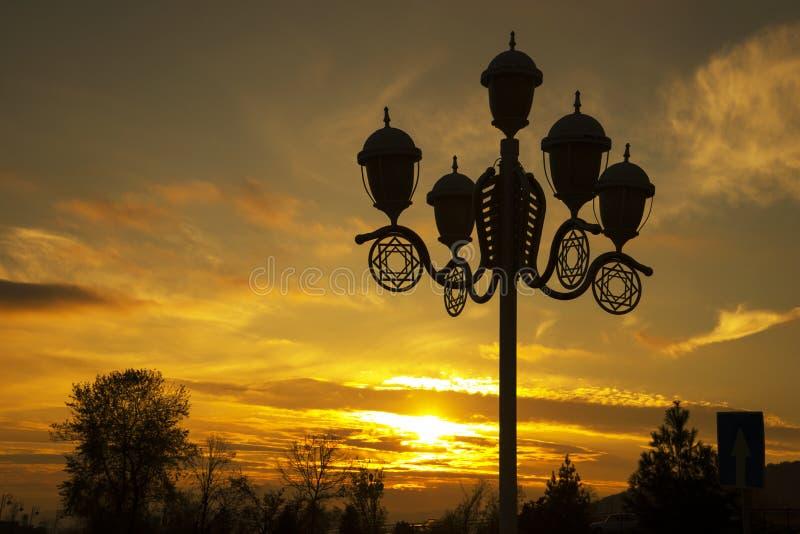 城市在夏天日落的公园灯 库存图片