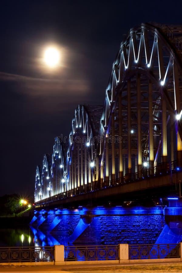 城市在晚上 长的曝光摄影 旅行在欧洲 库存图片