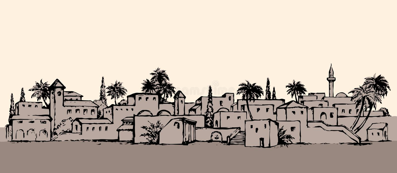 城市在沙漠 得出花卉草向量的背景 皇族释放例证