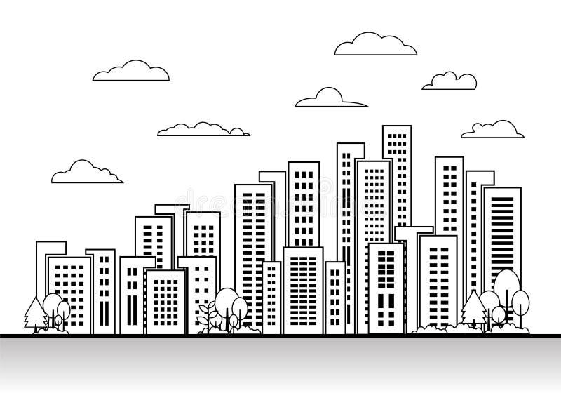 城市在白色背景,线大厦风景设计元素集的镇传染媒介 皇族释放例证