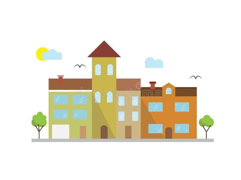城市在线性样式的风景例证-大厦 库存例证