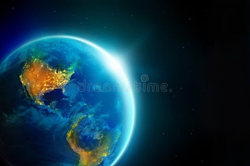 城市在行星地球的晚上点燃美国与太阳上升 向量例证