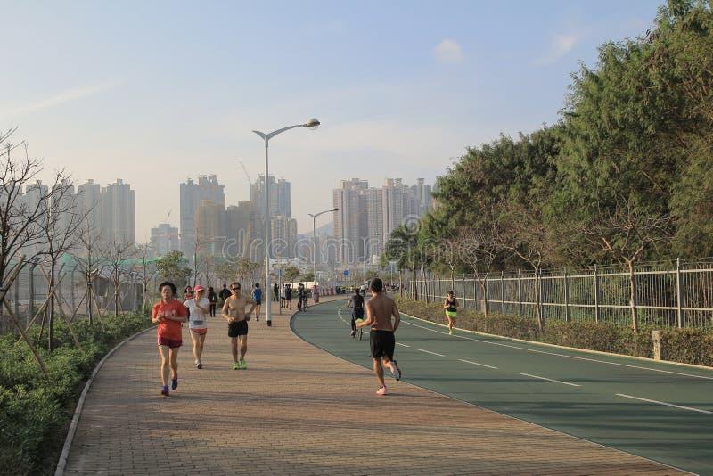城市在tseung kwan O,香港的自行车车道 免版税库存照片