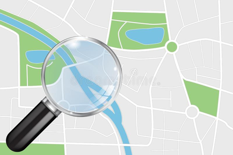 城市地图和透明放大镜 库存例证
