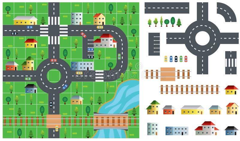 城市地图工具箱传染媒介例证 库存例证