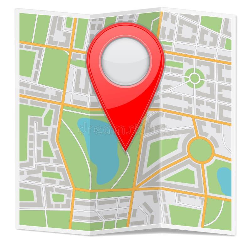 城市地图纸折叠了与红色地点标志 库存例证
