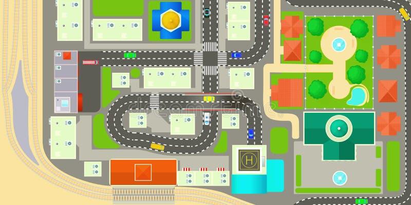 城市地图水平的横幅,动画片样式 皇族释放例证