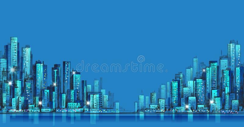 城市地平线全景在晚上,手拉的都市风景,传染媒介图画建筑学例证 皇族释放例证