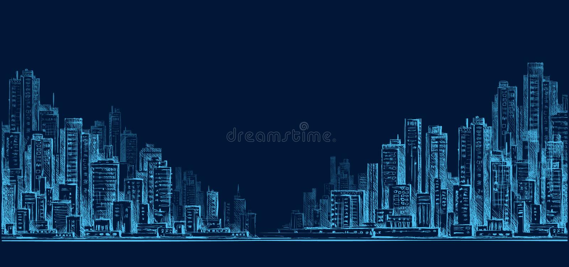 城市地平线全景在晚上,手拉的都市风景,画的建筑学例证 皇族释放例证