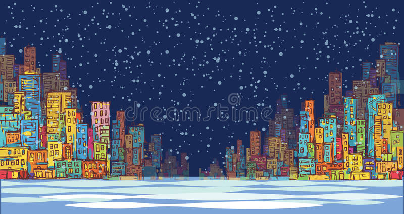 城市地平线全景,冬天雪风景在晚上,手拉的都市风景,传染媒介图画建筑学例证 库存例证