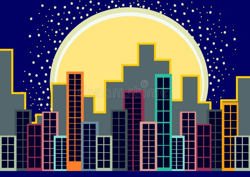 城市地平线在晚上 向量例证