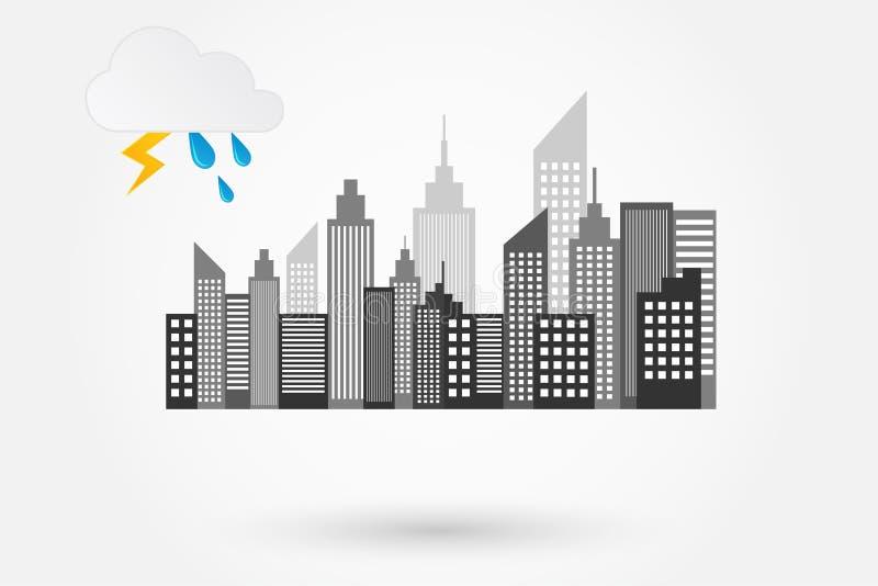 城市地平线在雨天 库存例证