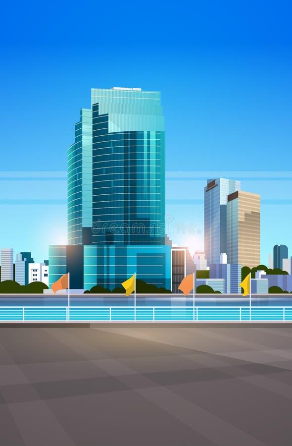 城市地平线现代摩天大楼篱芭和河反对平展垂直都市风景的背景 库存例证