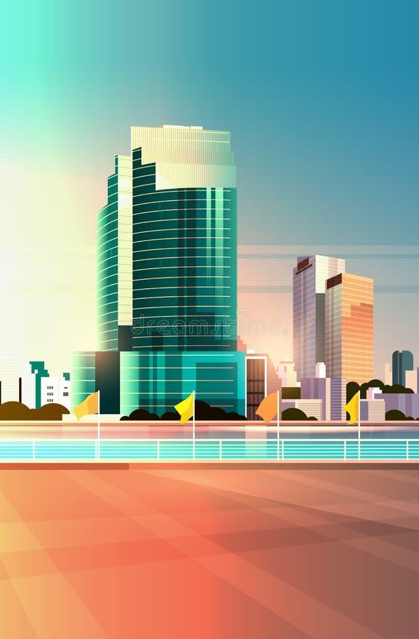 城市地平线现代摩天大楼篱芭和河反对都市风景平展垂直日落的背景 库存例证