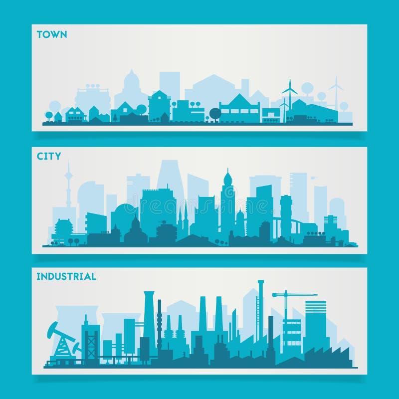 城市地平线集合 库存例证