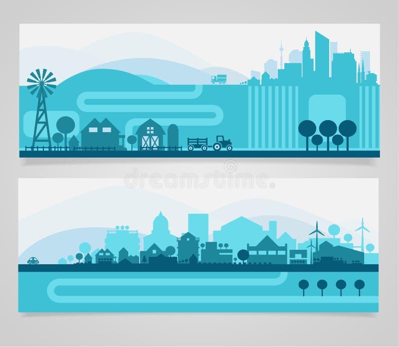 城市地平线集合 向量例证